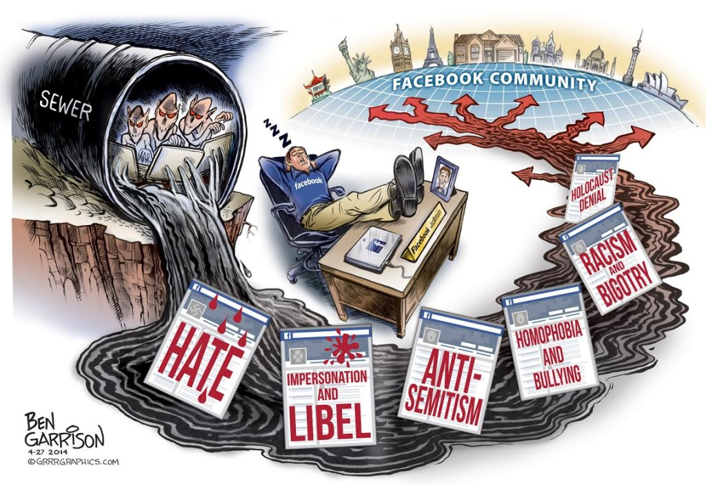 Ben Garrison Cartoon showing internet trolls in a sewer creating online hate that flows past a sleeping Facebook admin and then spreads around the world