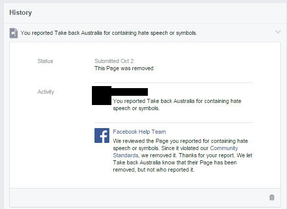 Facebook reporting that page is removed