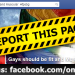 """Report Facebook Page """"Gays should be fit and muscular"""""""
